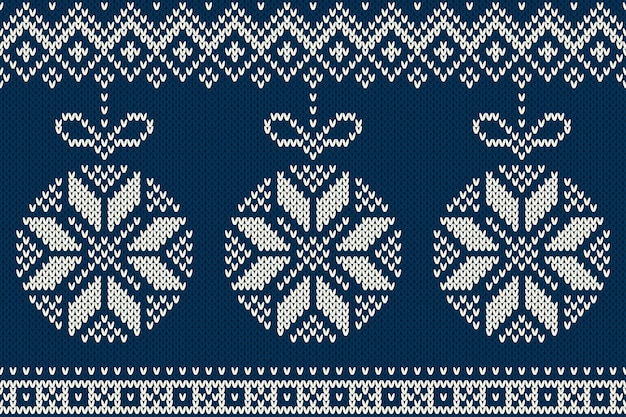 Modèle tricoté sans couture de vacances d'hiver avec des boules de sapin de noël