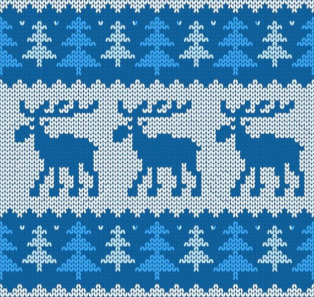 Modèle tricoté de style scandinave avec des cerfs. fond de vecteur