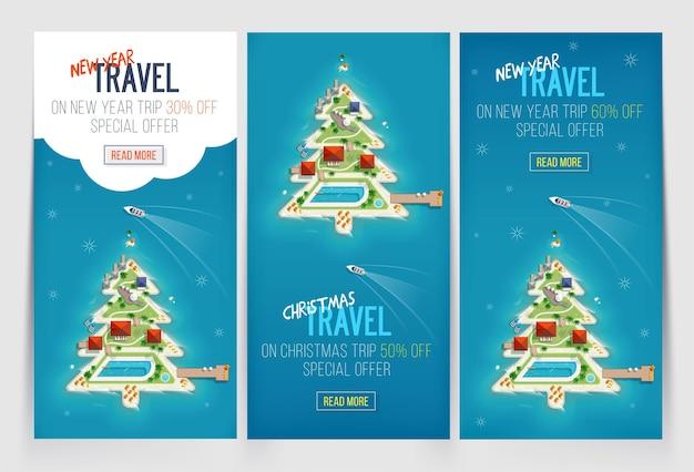 Modèle de trois bannières de vacances de vacances de nouvel an et de noël