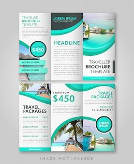 Modèle à trois volets de brochure de voyage