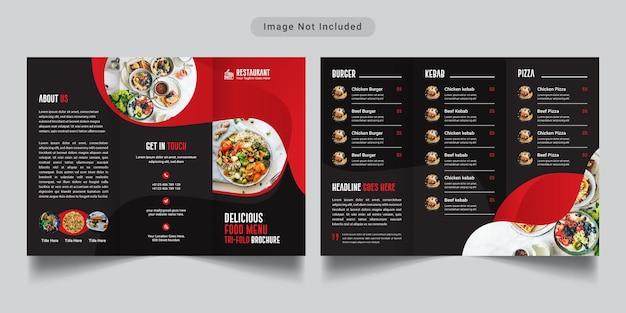 Modèle à trois volets de menu de nourriture de restaurant
