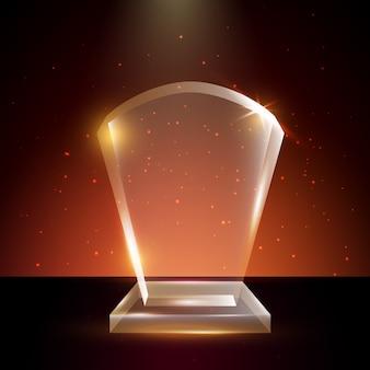 Modèle de trophée en verre acrylique transparent vierge en arrière-plan brillant