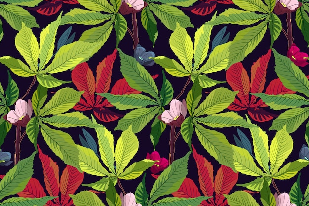 Modèle tropical art floral vector.