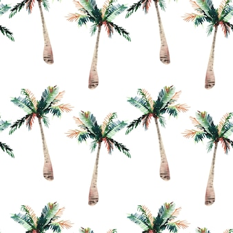 Modèle tropical d'un croquis de main aquarelle de palmiers arbres