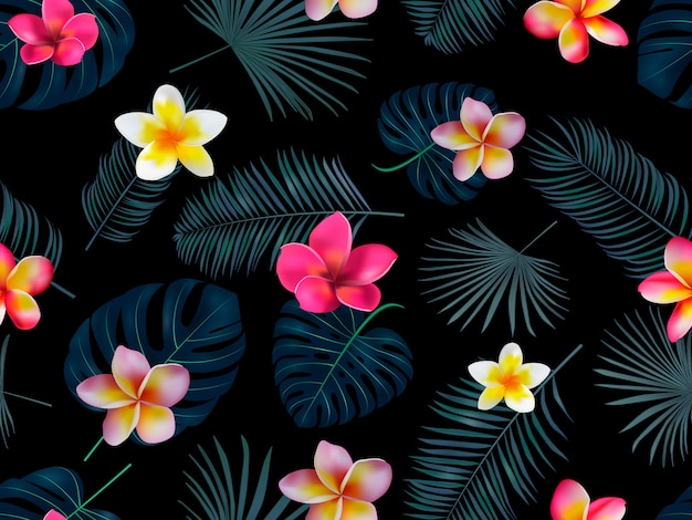 Modèle tropical dessiné main transparente avec des fleurs d'orchidées et des feuilles de palmier exotiques sur fond sombre.