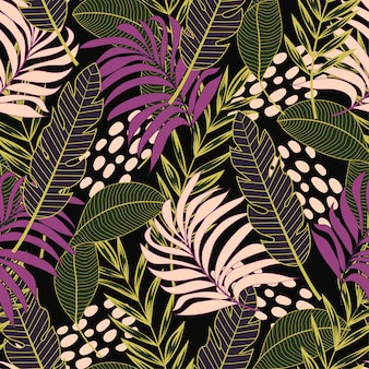 Modèle tropical avec des feuilles et des plantes