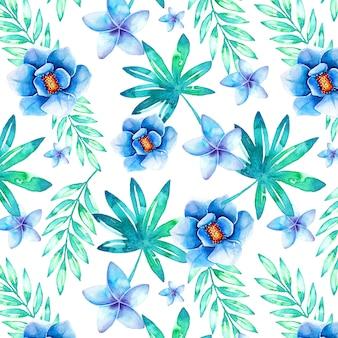 Modèle tropical sans couture avec aquarelles feuilles et fleurs