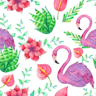 Modèle tropical sans couture avec aquarelles oiseaux, feuilles et fleurs