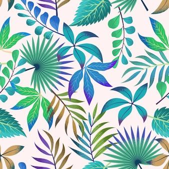 Modèle tropical sans couture avec de belles feuilles sur fond clair