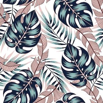 Modèle tropical sans couture d'été avec des plantes et des feuilles lumineuses sur un fond délicat