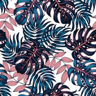 Modèle tropical sans couture d'été avec des plantes et des feuilles lumineuses sur un fond pastel