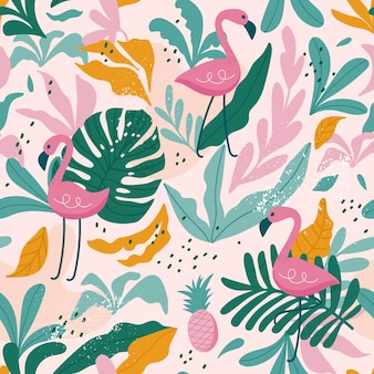 Modèle tropical sans couture avec des flamants roses, des feuilles exotiques.