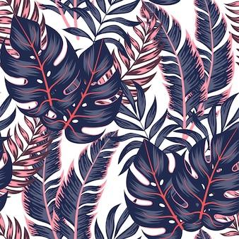 Modèle tropical sans couture à la mode avec des plantes et des feuilles lumineuses sur fond blanc