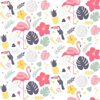 Modèle tropical sans couture avec des oiseaux