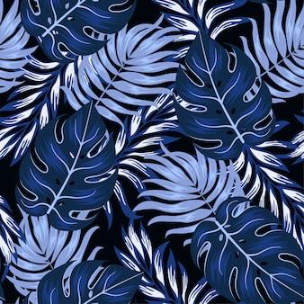 Modèle tropical sans couture original avec des plantes et des feuilles lumineuses sur un fond sombre