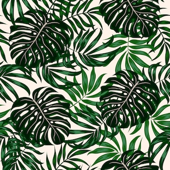 Modèle tropical sans couture avec des plantes et des feuilles vertes