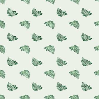Modèle tropical sans couture de tons pastel avec ornement de feuille de monstera vert pastel. fond clair.
