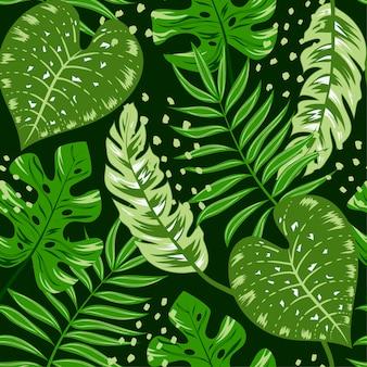 Modèle tropical sans soudure avec des plantes vertes et des feuilles