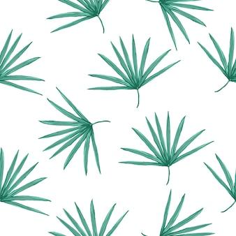 Modèle tropical vectorielle continue avec des feuilles de palmier sur fond blanc