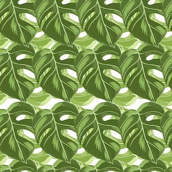 Modèle tropique sans couture de silhouettes de feuilles de monstera vert tropical