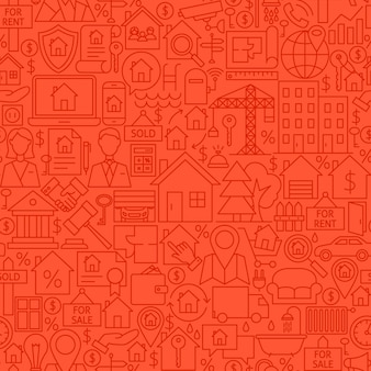 Modèle de tuile de ligne de maison. illustration vectorielle de fond transparent de contour. objets immobiliers.