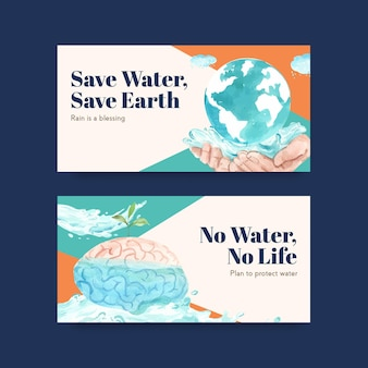 Modèle twister avec conception de concept de journée mondiale de l'eau pour les médias sociaux et l'illustration aquarelle communautaire