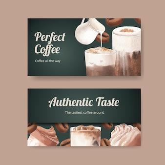 Modèle twitter avec café dans un style aquarelle