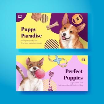 Modèle twitter avec concept de chien mignon, style aquarelle
