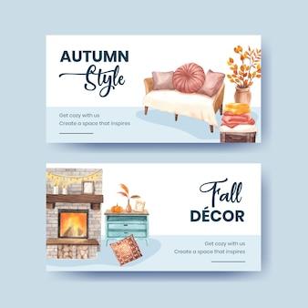 Modèle twitter avec concept confortable de maison d'automne, style aquarelle