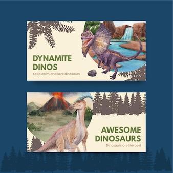 Modèle twitter avec concept de dinosaure, style aquarelle