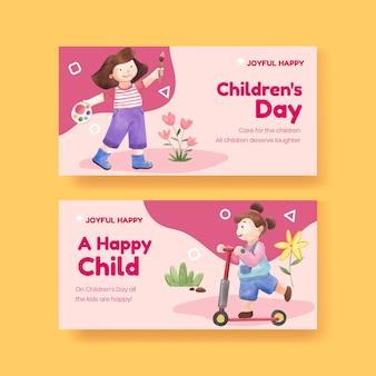 Modèle twitter avec concept d'enfants heureux, style aquarelle
