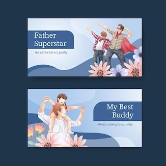 Modèle twitter avec le concept de la fête des pères, style aquarelle