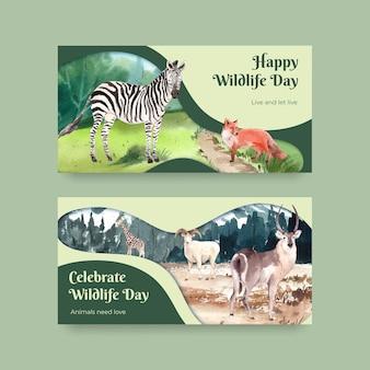 Modèle twitter avec le concept de la journée mondiale des animaux dans un style aquarelle