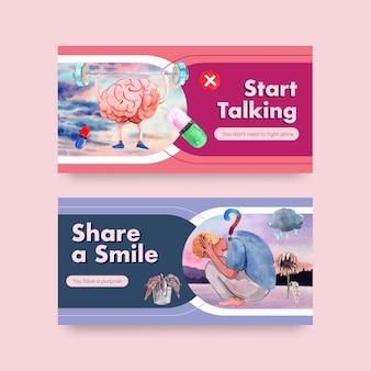 Modèle twitter avec conception de concept de journée mondiale de la santé mentale pour les médias sociaux et l'illustration de vecteur aquarelle communautaire en ligne.