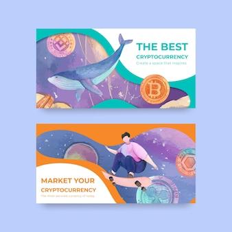 Modèle twitter avec crypto-monnaie dans un style aquarelle