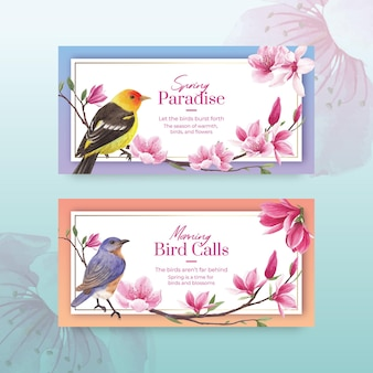 Modèle de twitter avec illustration aquarelle de fleur oiseau concept design
