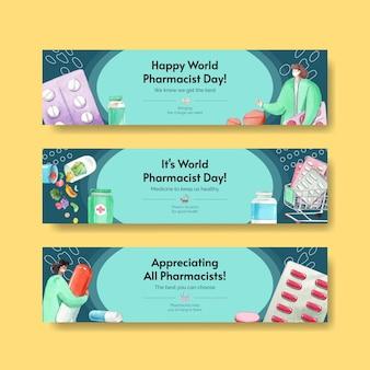 Modèle twitter avec la journée mondiale des pharmaciens dans un style aquarelle
