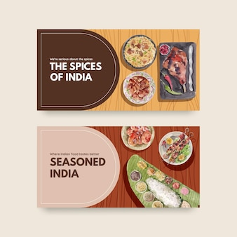 Modèle twitter serti de nourriture indienne