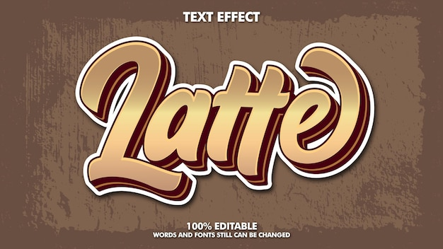 Modèle de typographie de conception d'effet de texte rétro vintage modifiable pour le titre de café