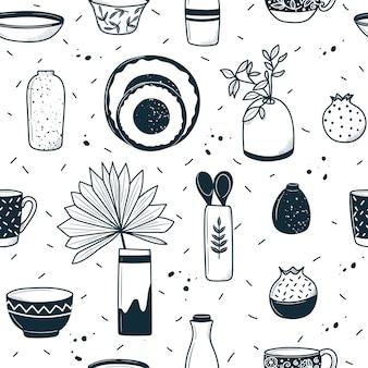 Modèle d'ustensiles en céramique. dans le style de dessin animé doodle. illustration dessinée à la main en noir et blanc