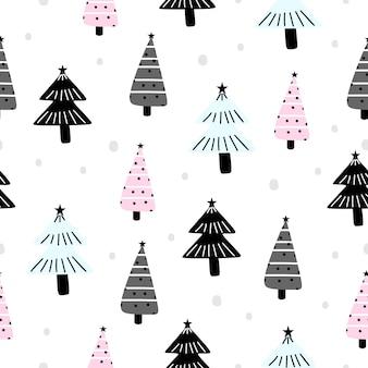 Modèle de vacances pour noël avec dessin d'arbre à la mode