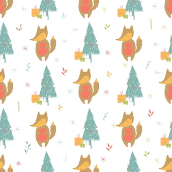 Modèle de vacances sans couture avec renard et présente fond de noël dessiné à la main pour carte de voeux