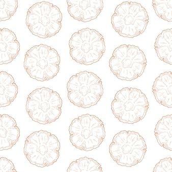 Modèle de vecteur d'ananas dans le style de croquis.