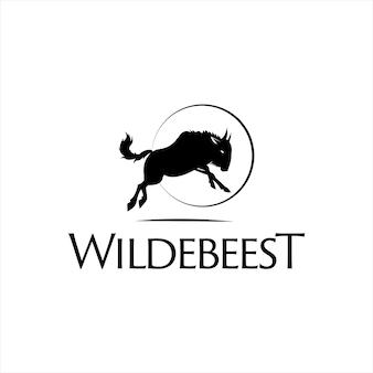 Modèle de vecteur animal de logo de silhouette de gnou