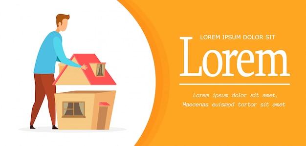 Modèle de vecteur de bannière maison construction maison