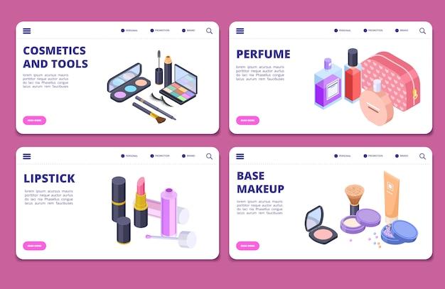 Modèle de vecteur de bannières cosmétiques isométriques. pages de destination pour la boutique de cosmétiques et de parfums