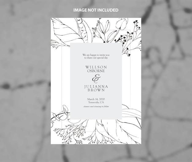 Modèle de vecteur de branches de mariage moderne invitation noir et blanc