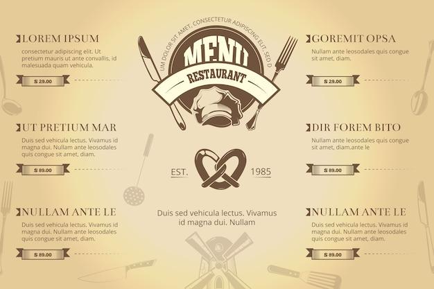 Modèle de vecteur de brochure menu restaurant ou café