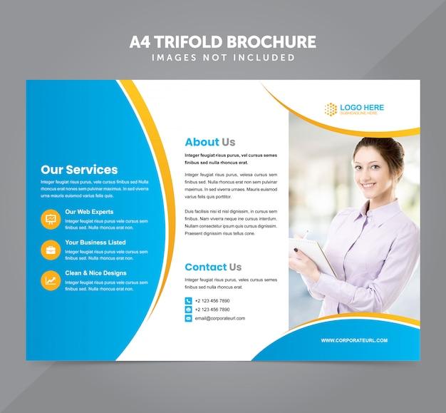 Modèle de vecteur business multifonction a4 trifold brochure