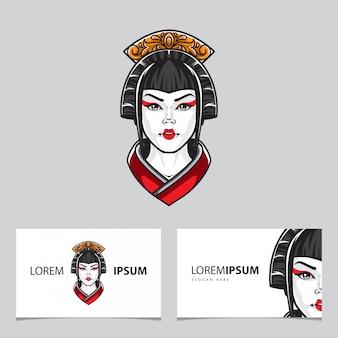 Modèle de vecteur de carte de visite avec logo geisha head